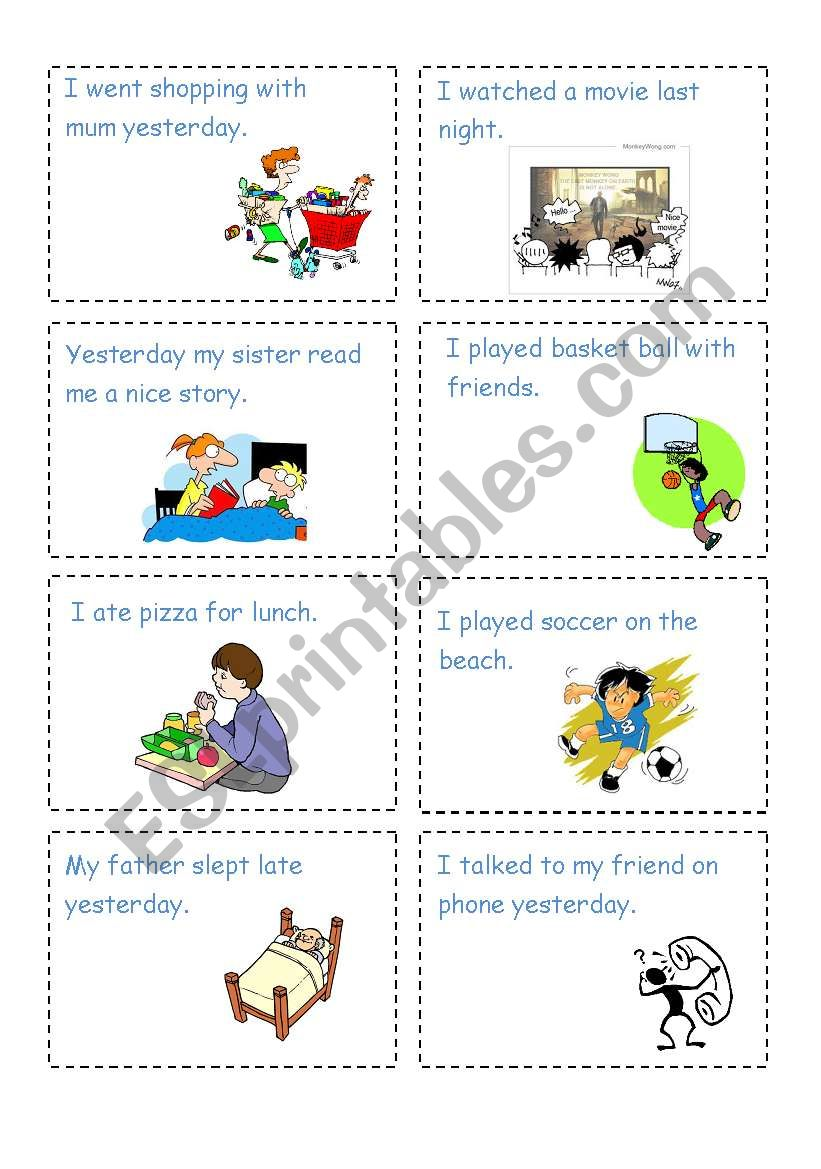 Miming activity cards-past tense