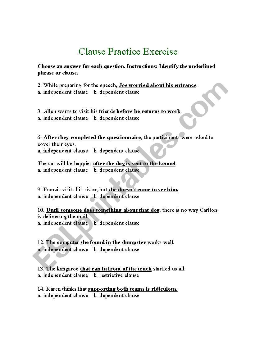 Independent And Dependent Clause Esl Worksheet By Bridish