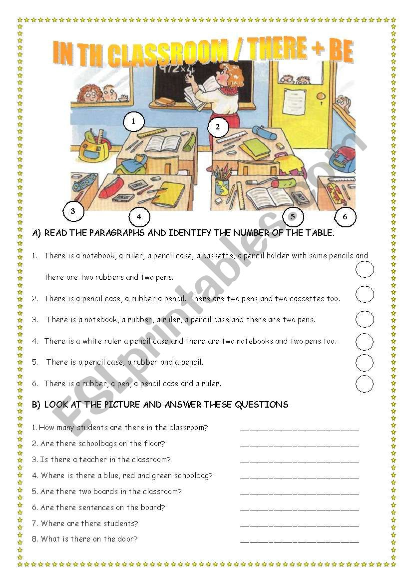 IN THE CLASSROOM/ THERE + BE worksheet