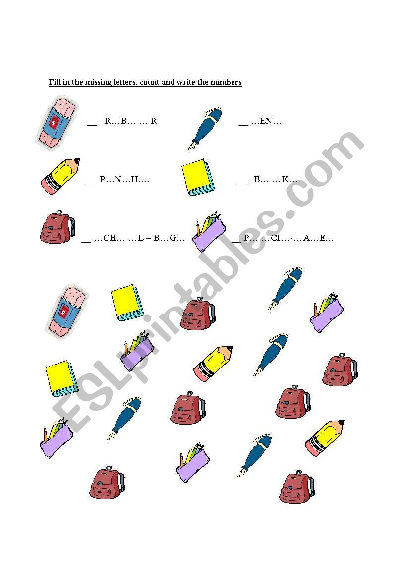 school objects worksheet