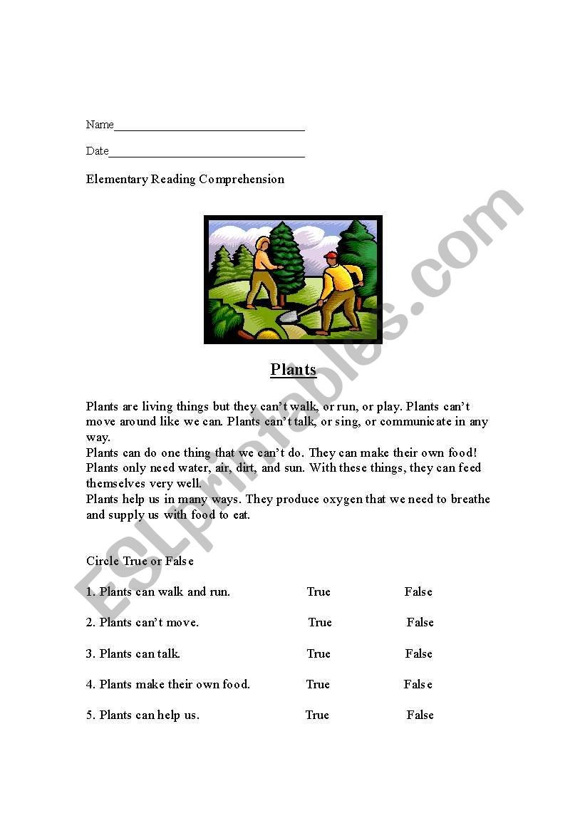 reading comprehension plants esl worksheet by dingmanellen. Black Bedroom Furniture Sets. Home Design Ideas