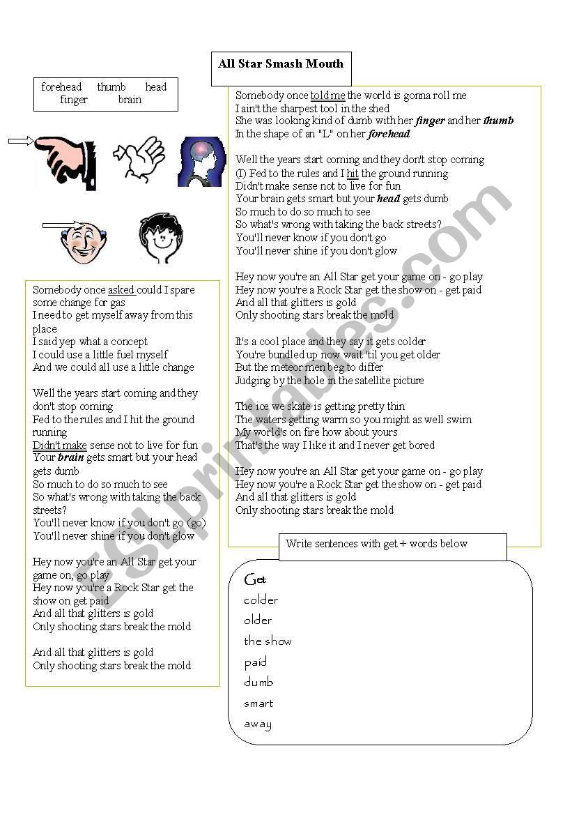 All Star - Smash Mouth song - ESL worksheet by gloriawpai