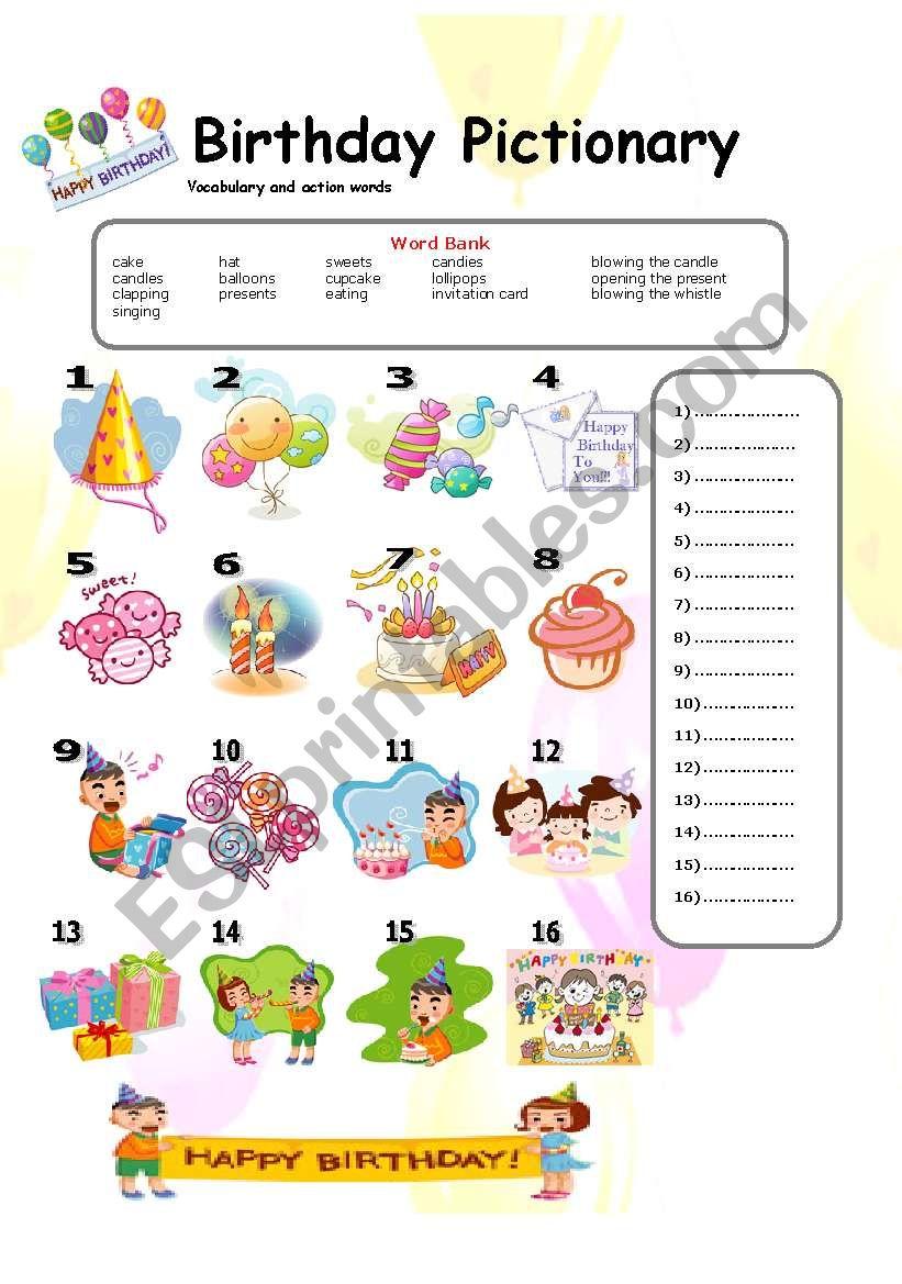 Birthday Pictionary 16-09-08 worksheet