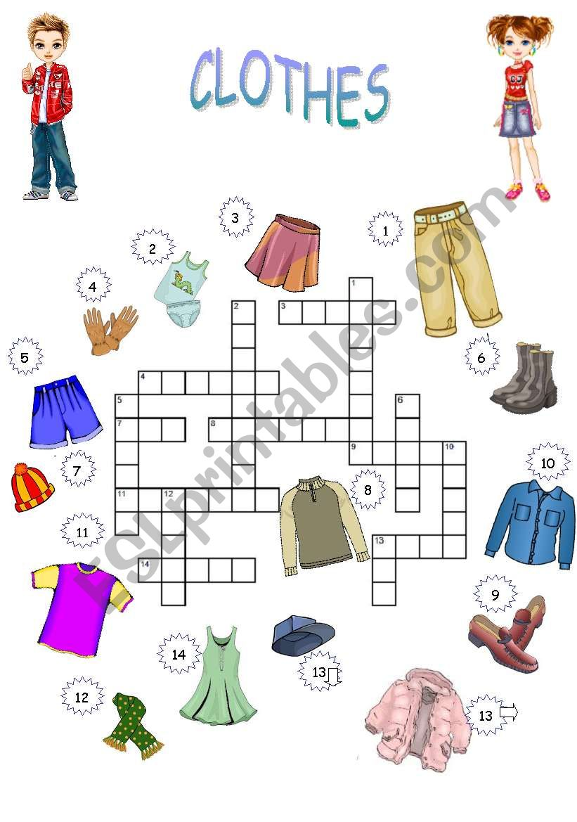 CROSSWORD CLOTHES worksheet