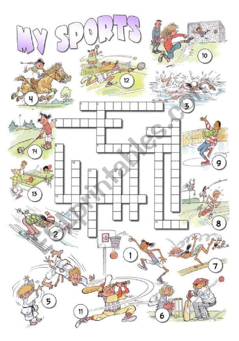 My Sports Crossword worksheet