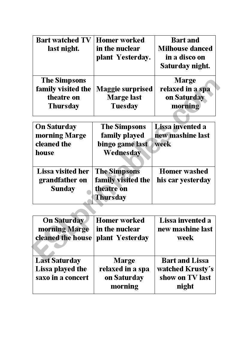 Bingo Game Past Simple Esl Worksheet By Angelesbi