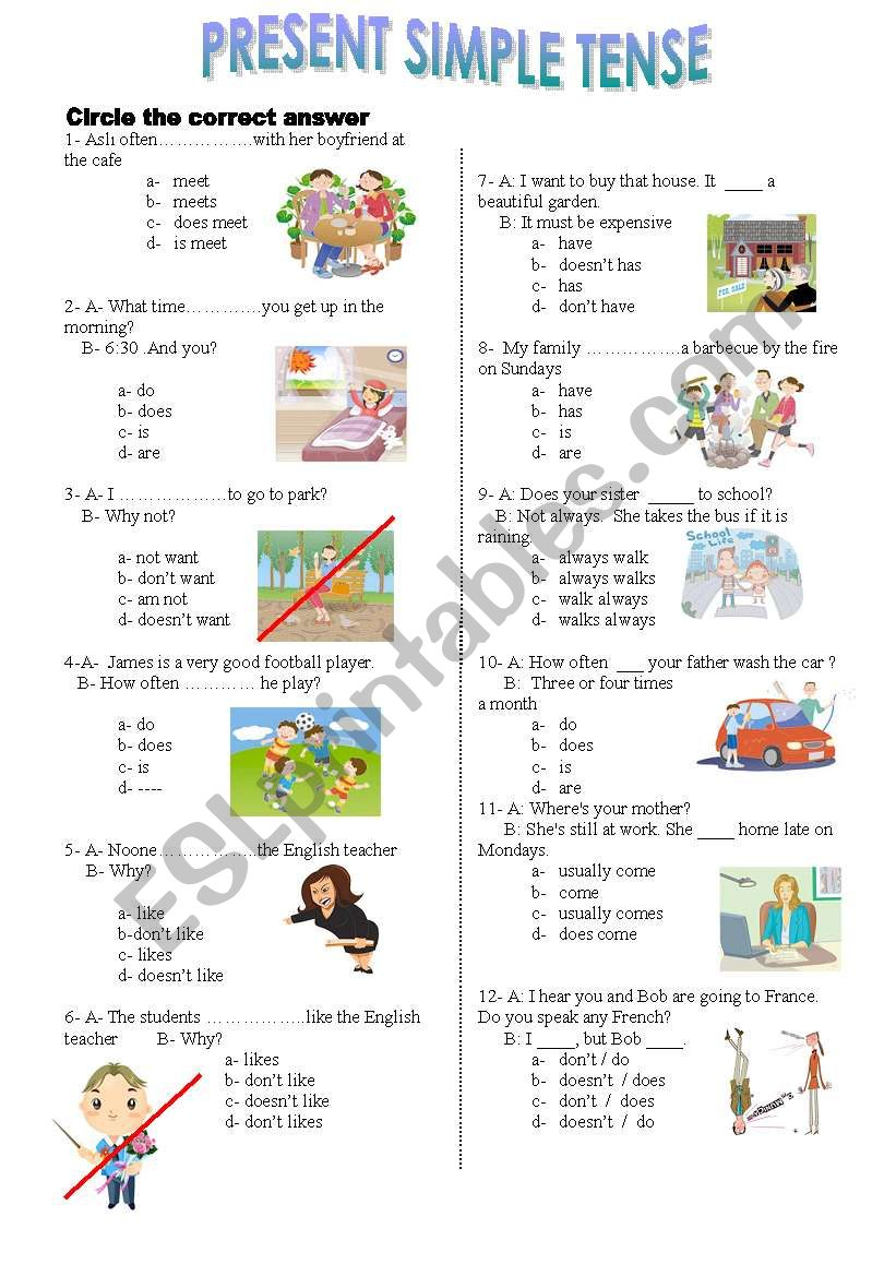 present simple  tense test worksheet