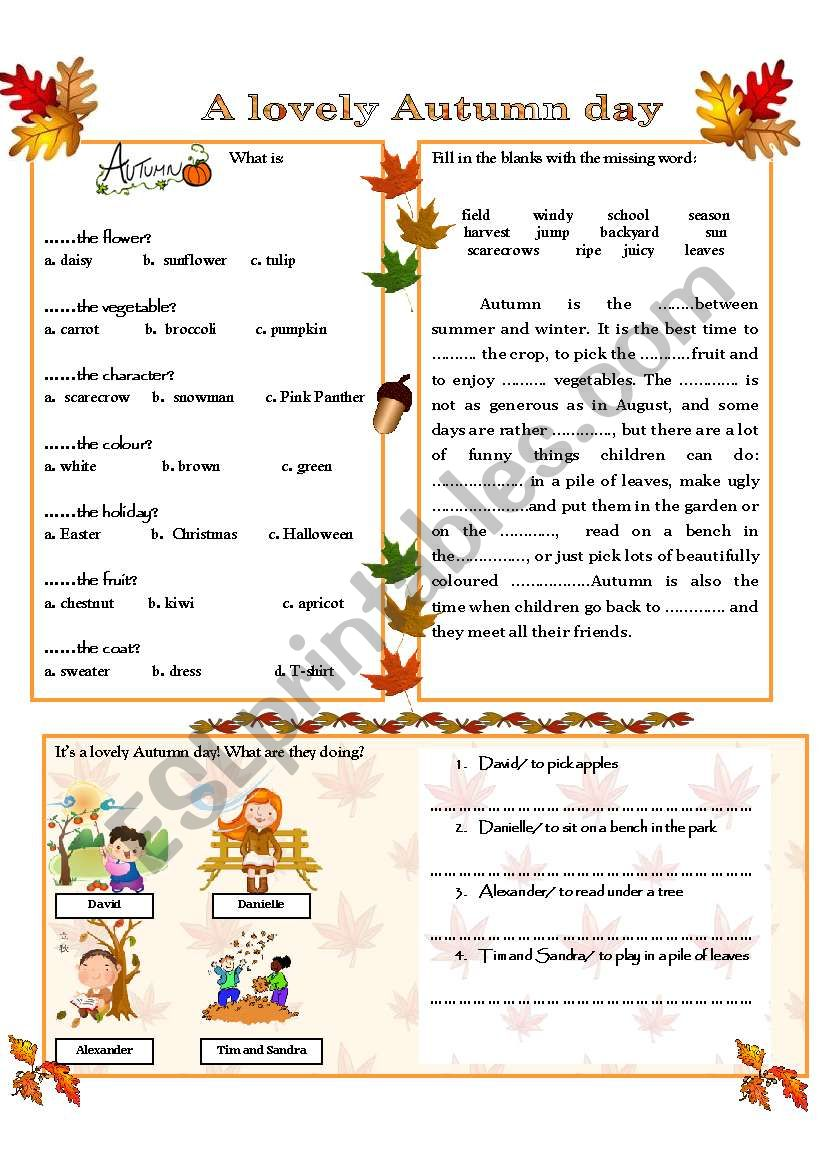 A LOVELY AUTUMN DAY worksheet