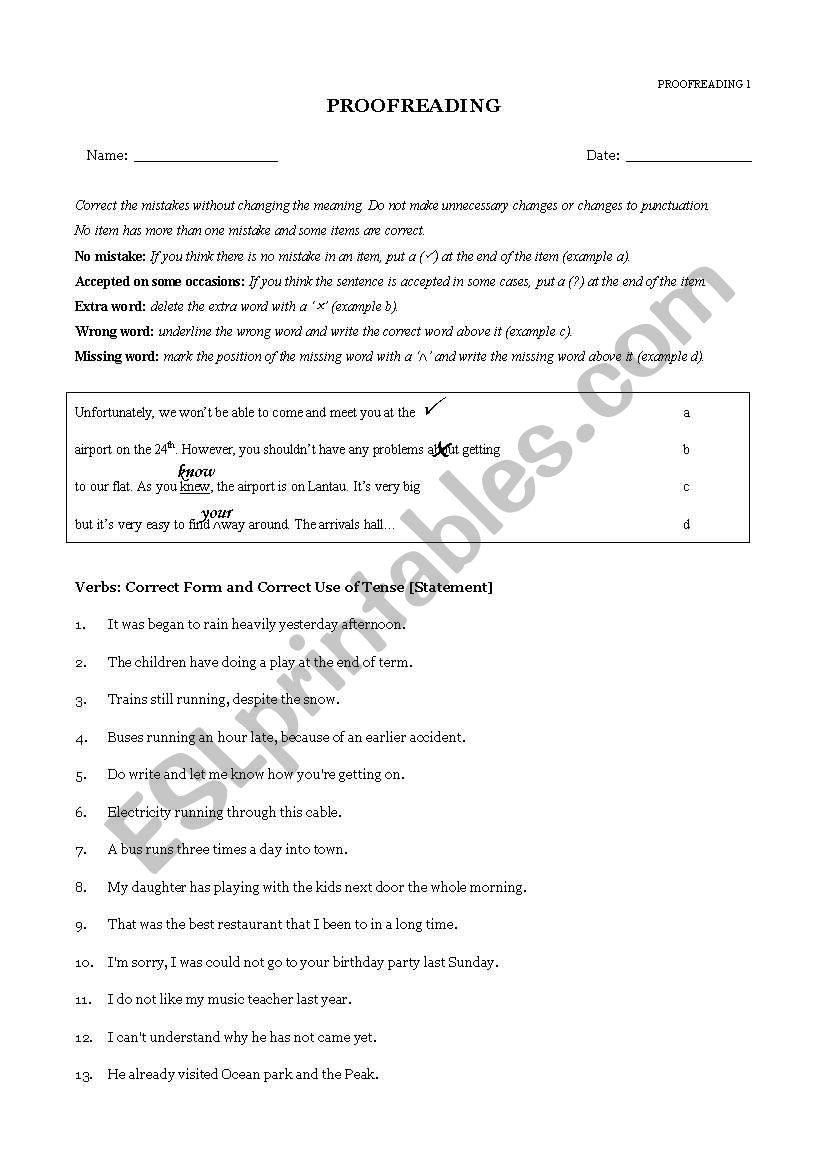 Proofreading exercises  worksheet