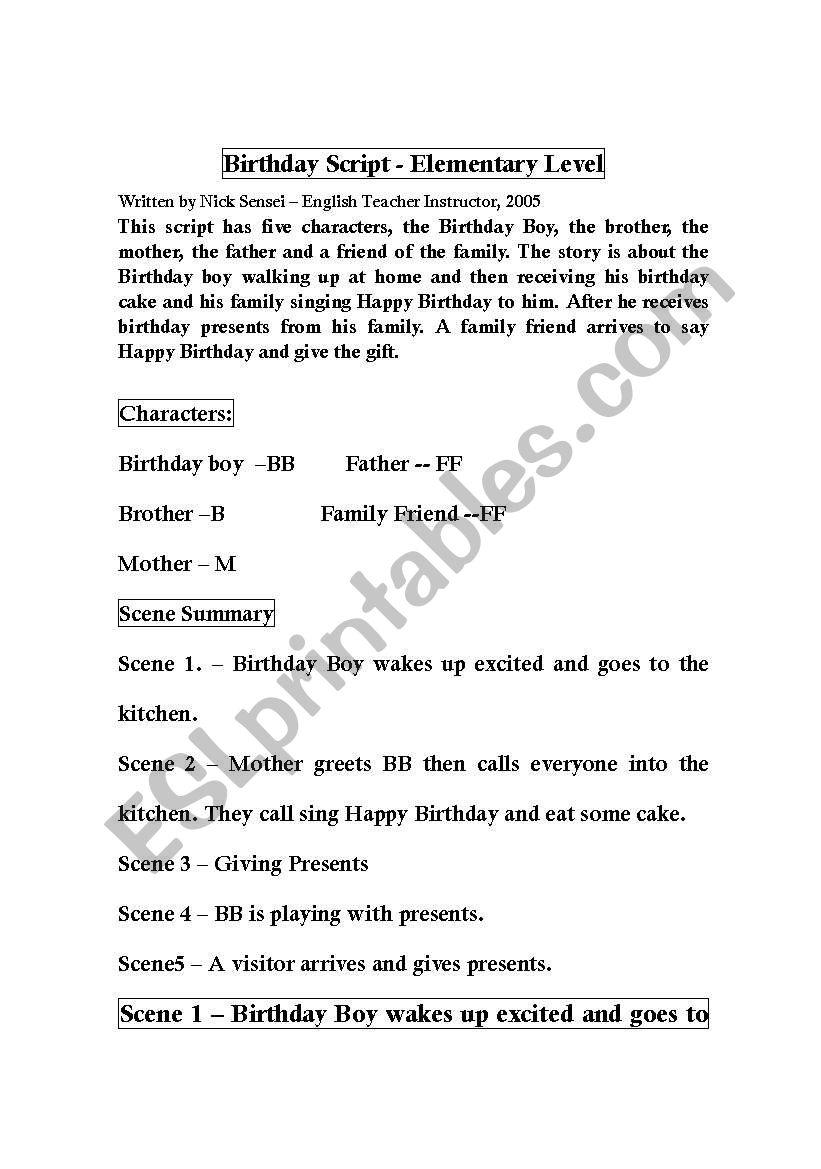 happy birthday script worksheet