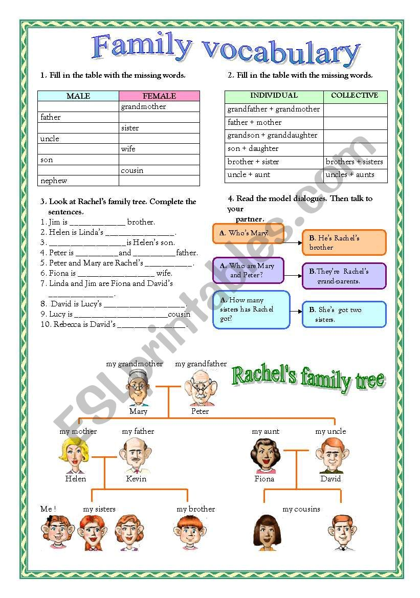 family vocabulary worksheet