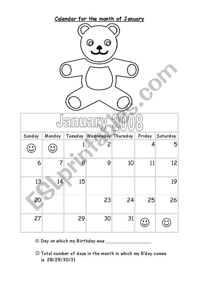 Days and month worksheet