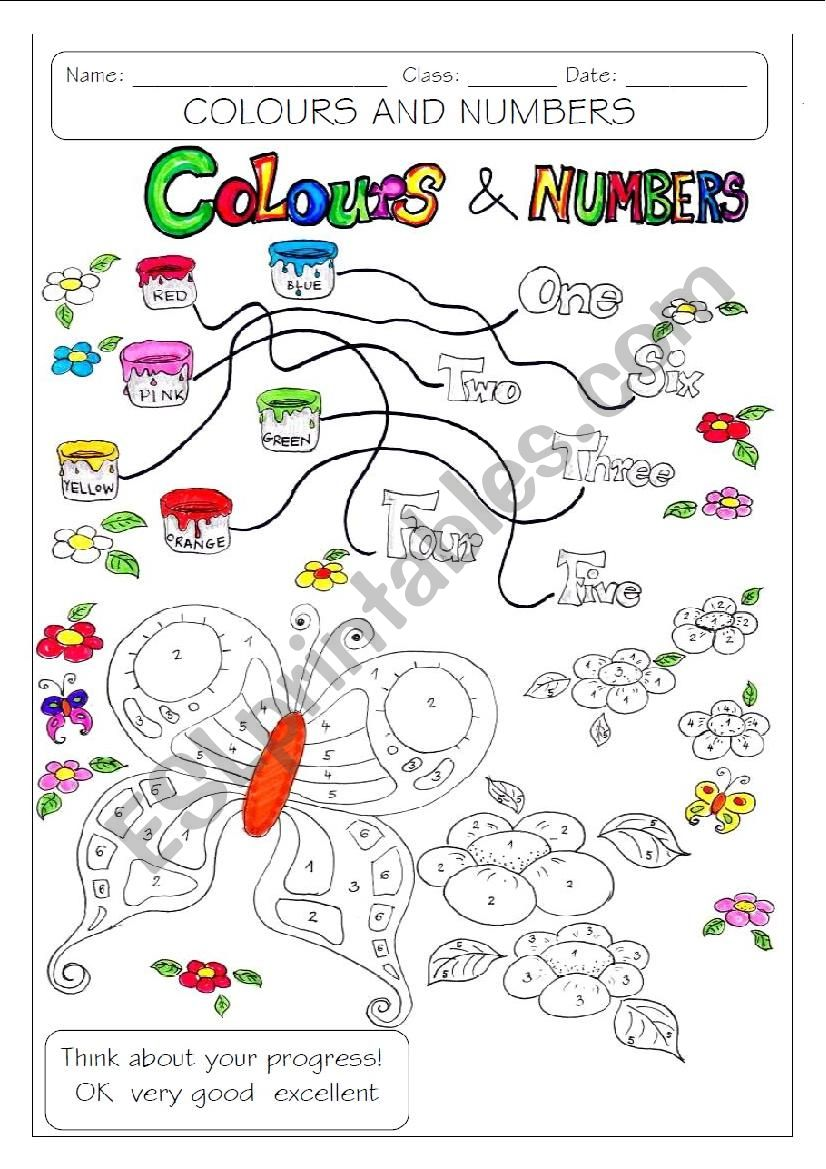 COLOURS AND NUMBERS worksheet