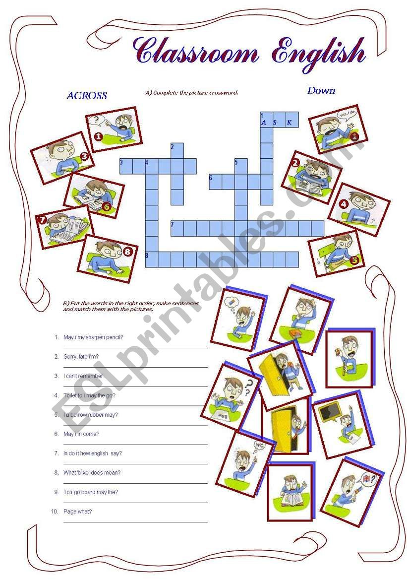 Classroom English  worksheet