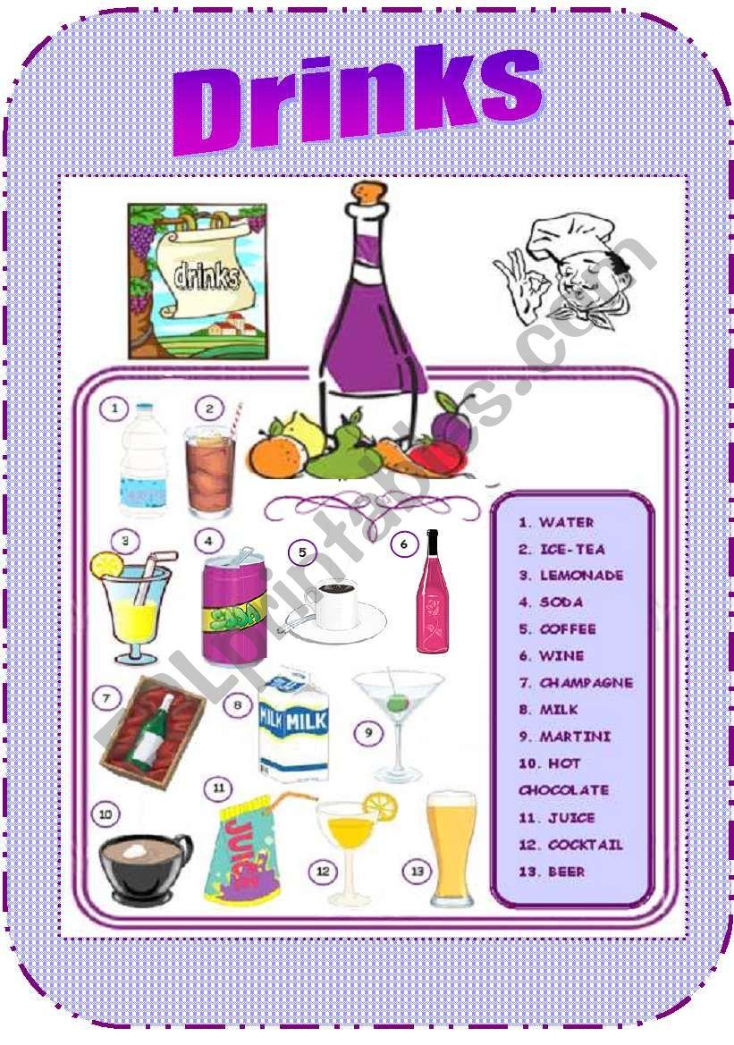 At the Restaurant (Drinks) worksheet