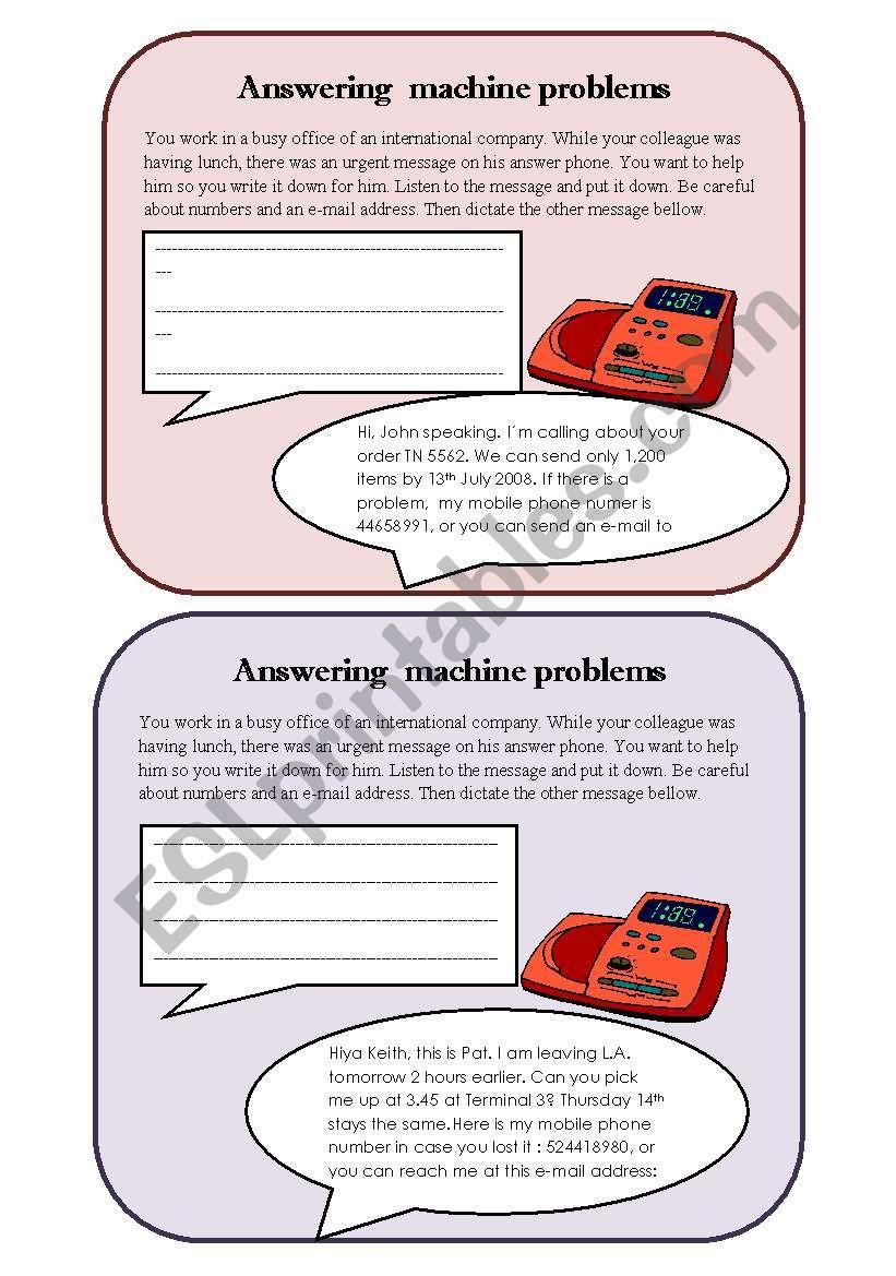 Answering machine problems worksheet