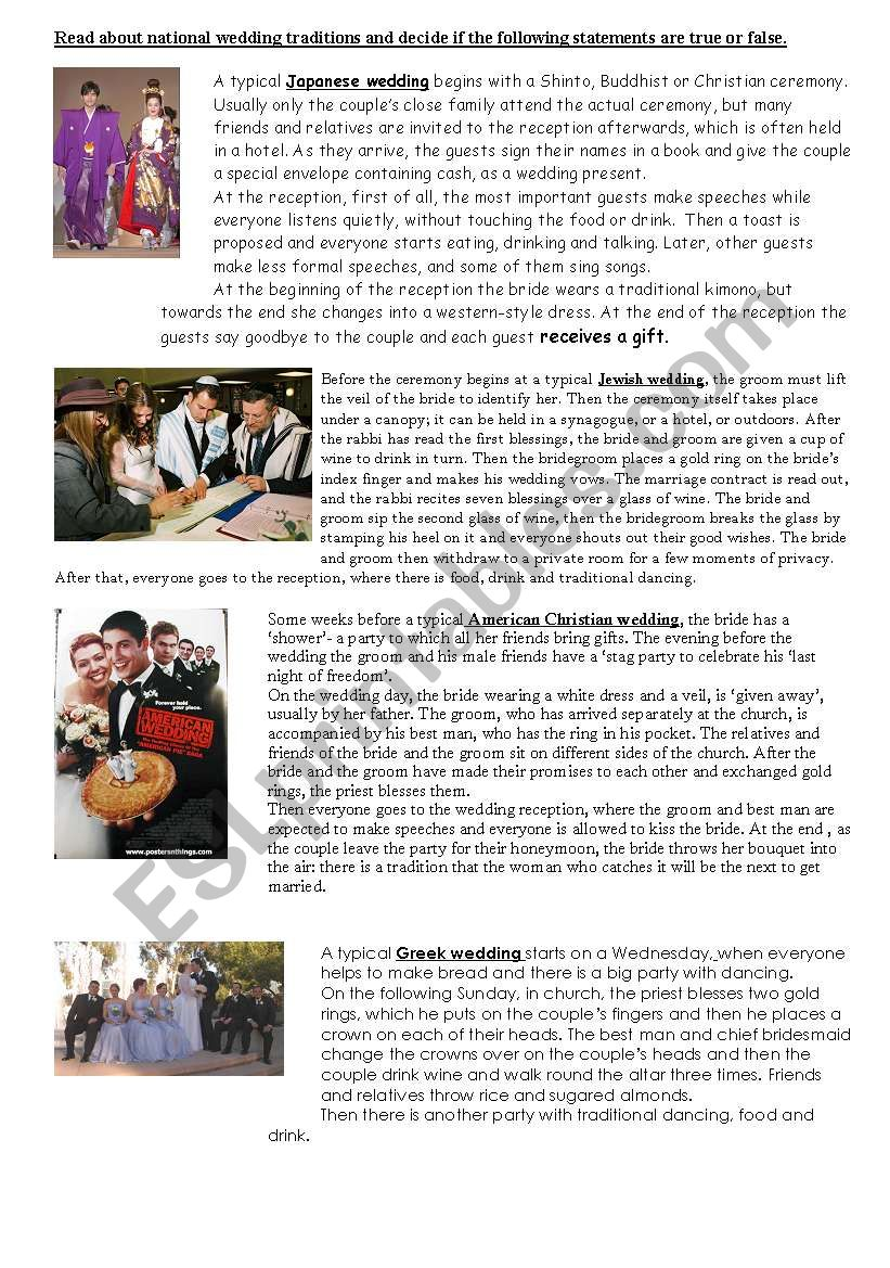 wedding traditions worksheet