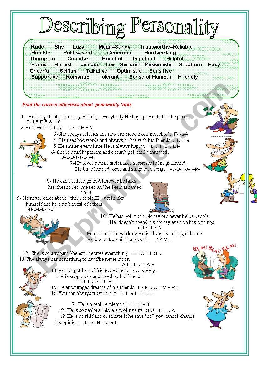 Describing Personality worksheet