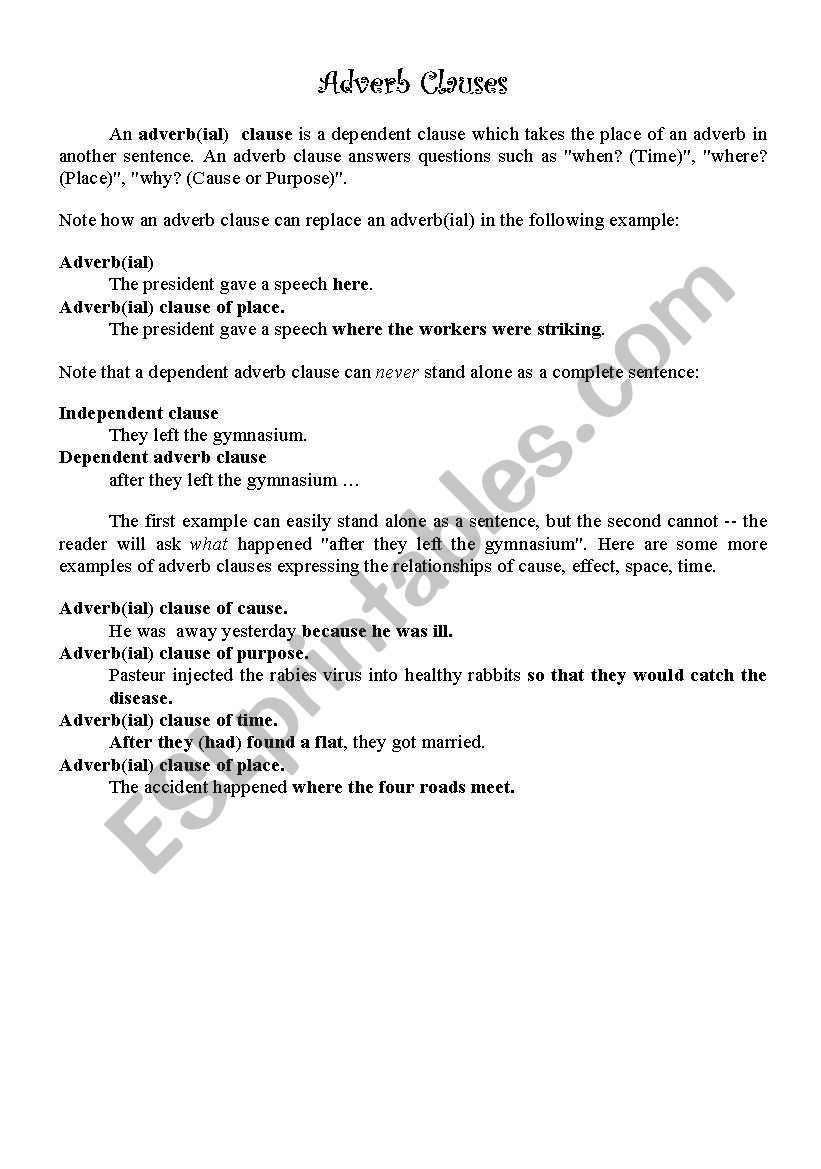 Adverb Clauses Esl Worksheet By Ayaniw