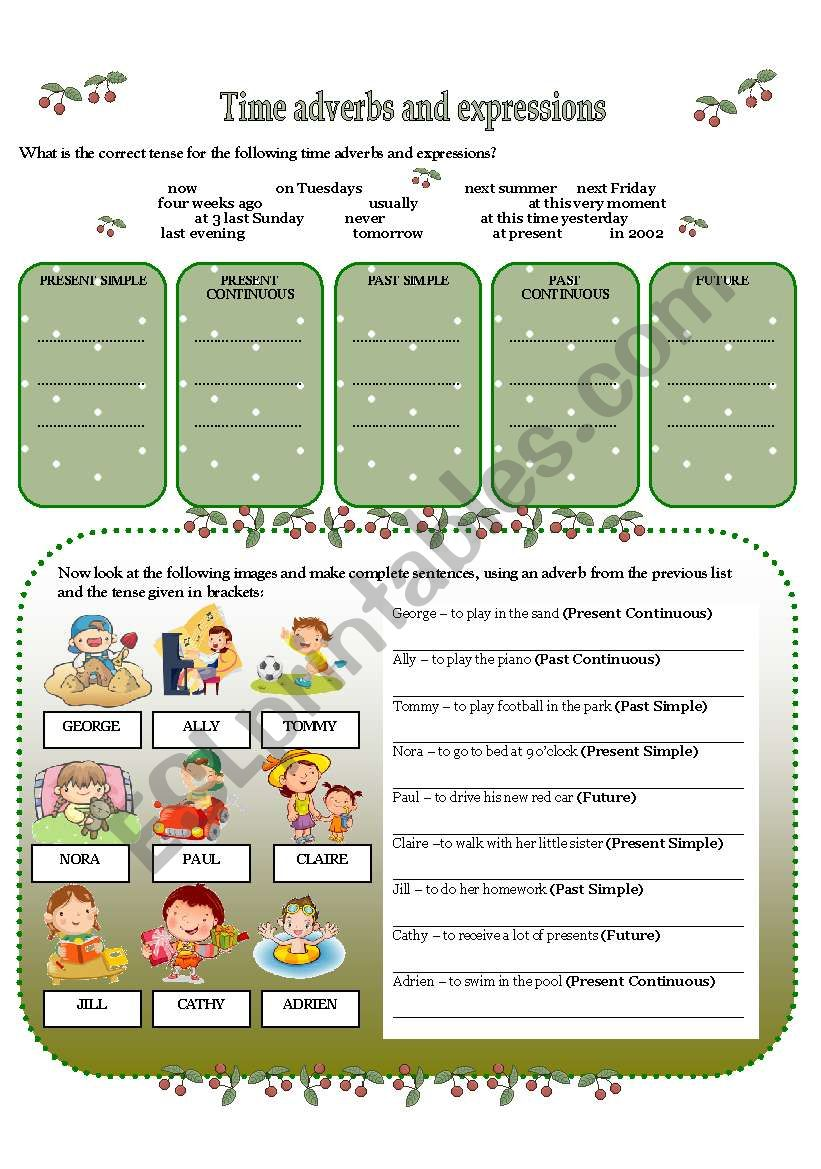TIME ADVERBS AND EXPRESSIONS worksheet
