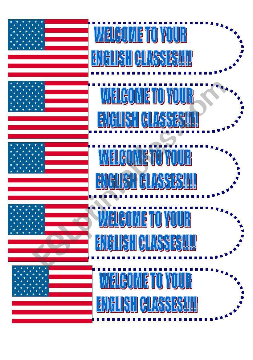 Book Marker: Welcome to your English classes