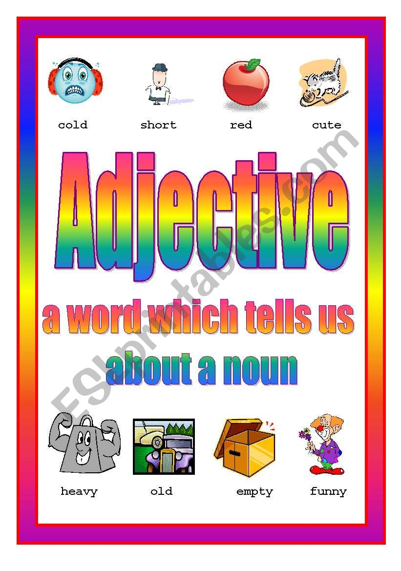 Adjective Poster 3rd of 4 worksheet
