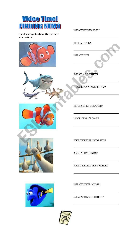 Movies Finding Nemo Esl Worksheet By Vanesa B Alegre