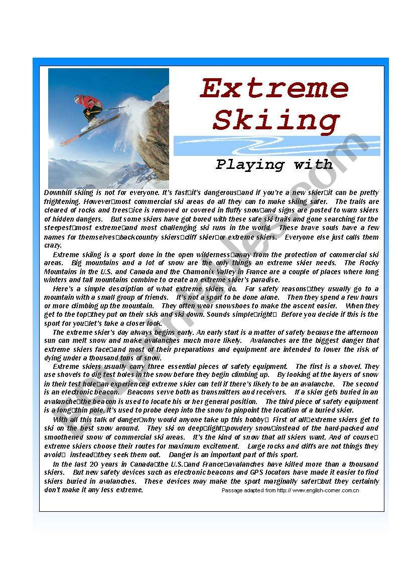 Extreme Skiing worksheet