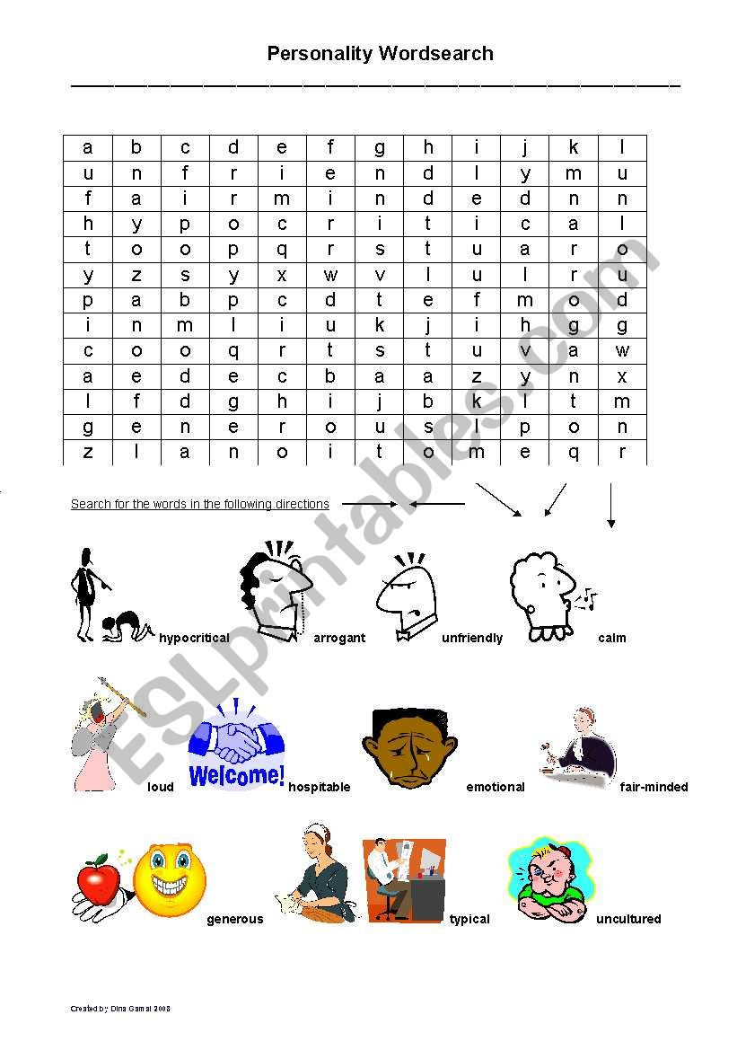 Personality word search worksheet