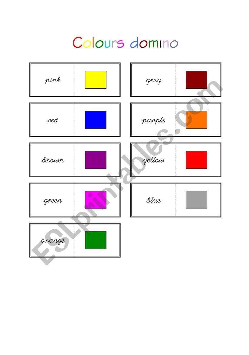 colours domino esl worksheet by engliskype. Black Bedroom Furniture Sets. Home Design Ideas