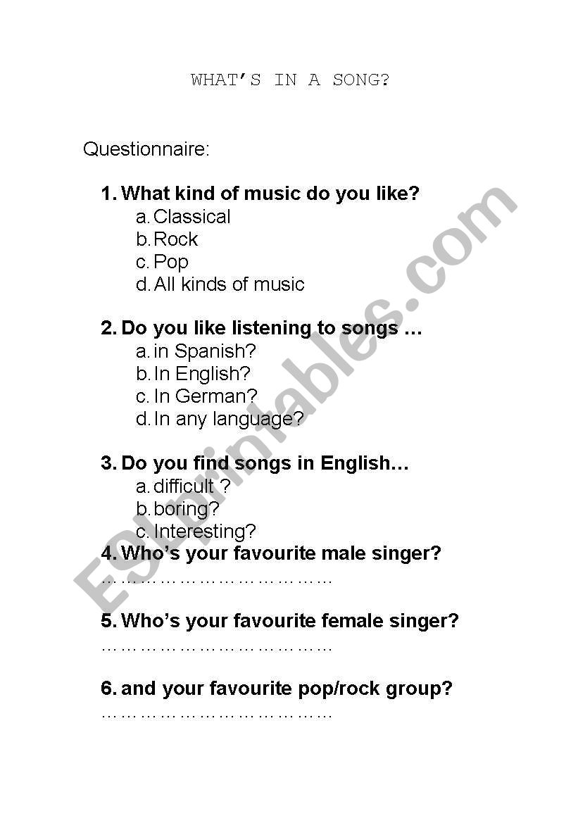 Activities with songs worksheet