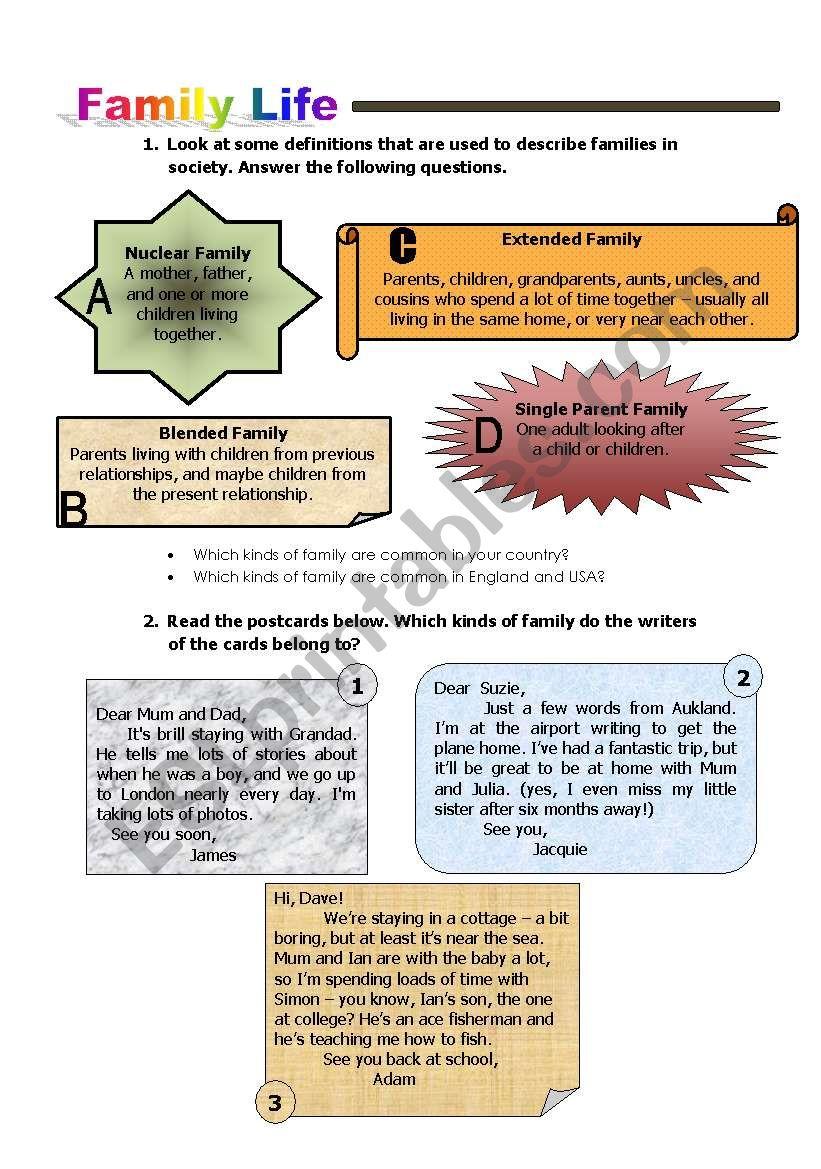 Family Life worksheet