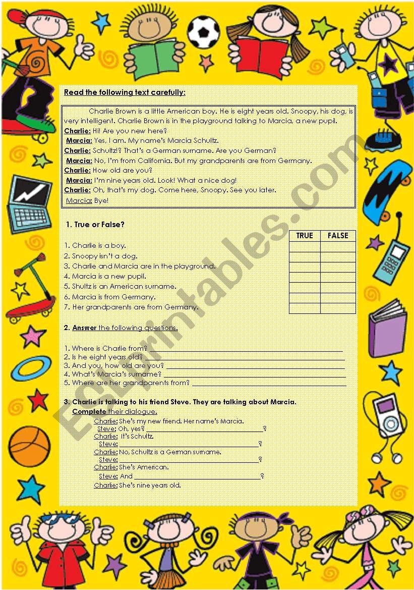 Charlie Brown worksheet