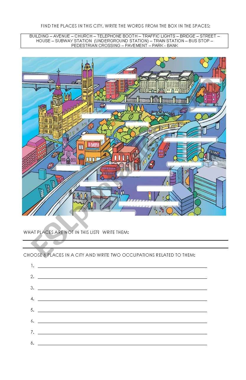 City places and occupations worksheet