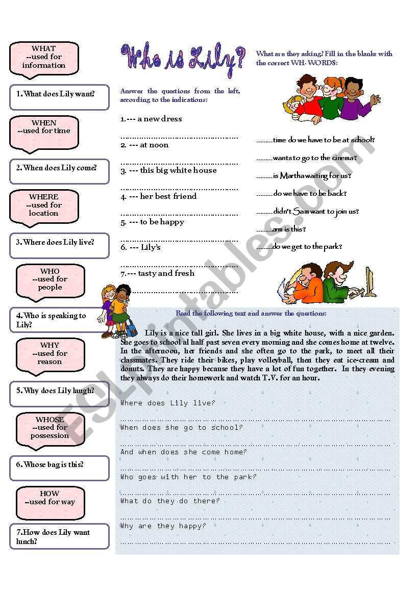 Who is Lily? worksheet