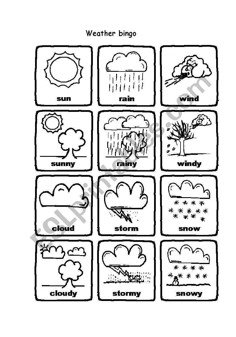 weather bingo esl worksheet by sissimori. Black Bedroom Furniture Sets. Home Design Ideas