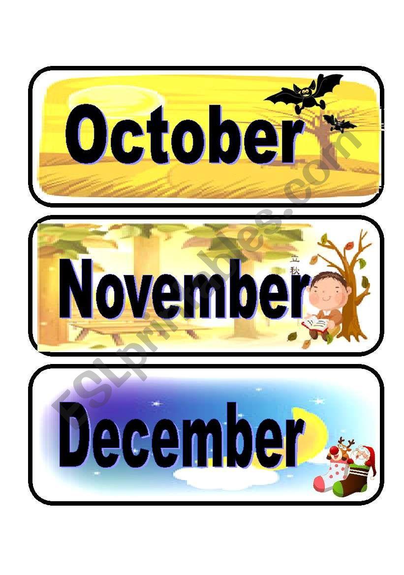 Calendar flashcards set 4 worksheet