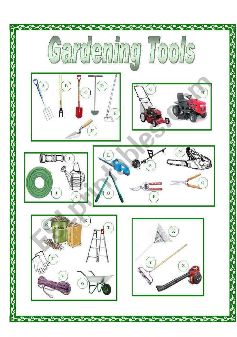 Garden Tools Picture Dictionary (full pg-color)
