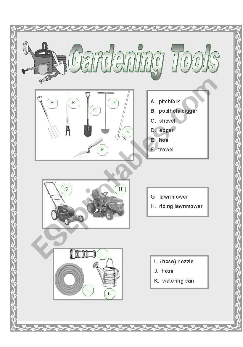 Garden Tools Picture Dictionary (half pg-grayscale)