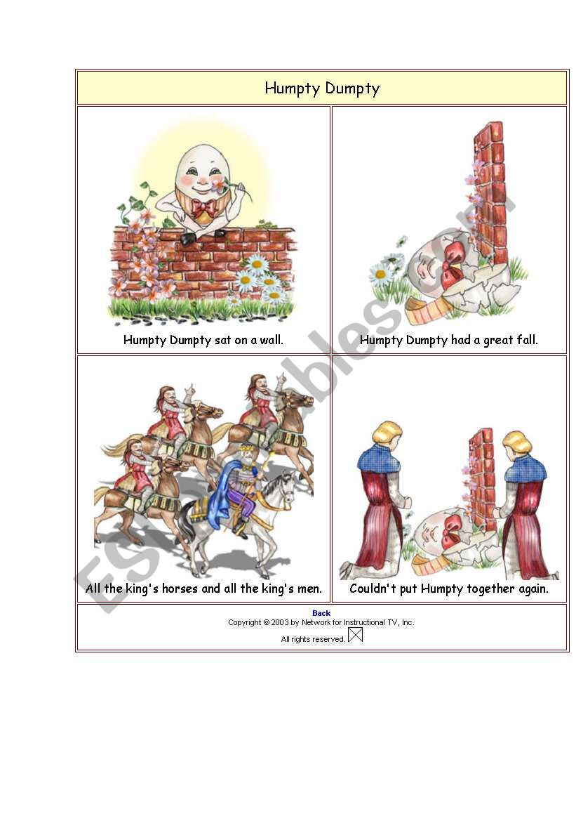 Humpty Dumpty story 1 sheet worksheet