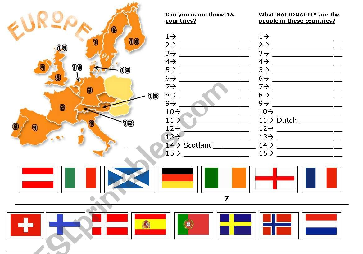EUROPE worksheet