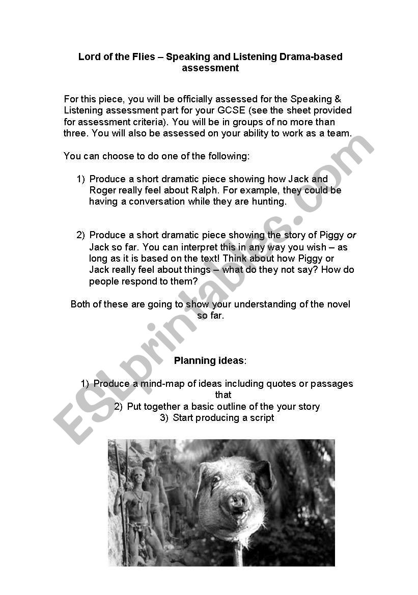 English worksheets: Lord of the Flies drama activity