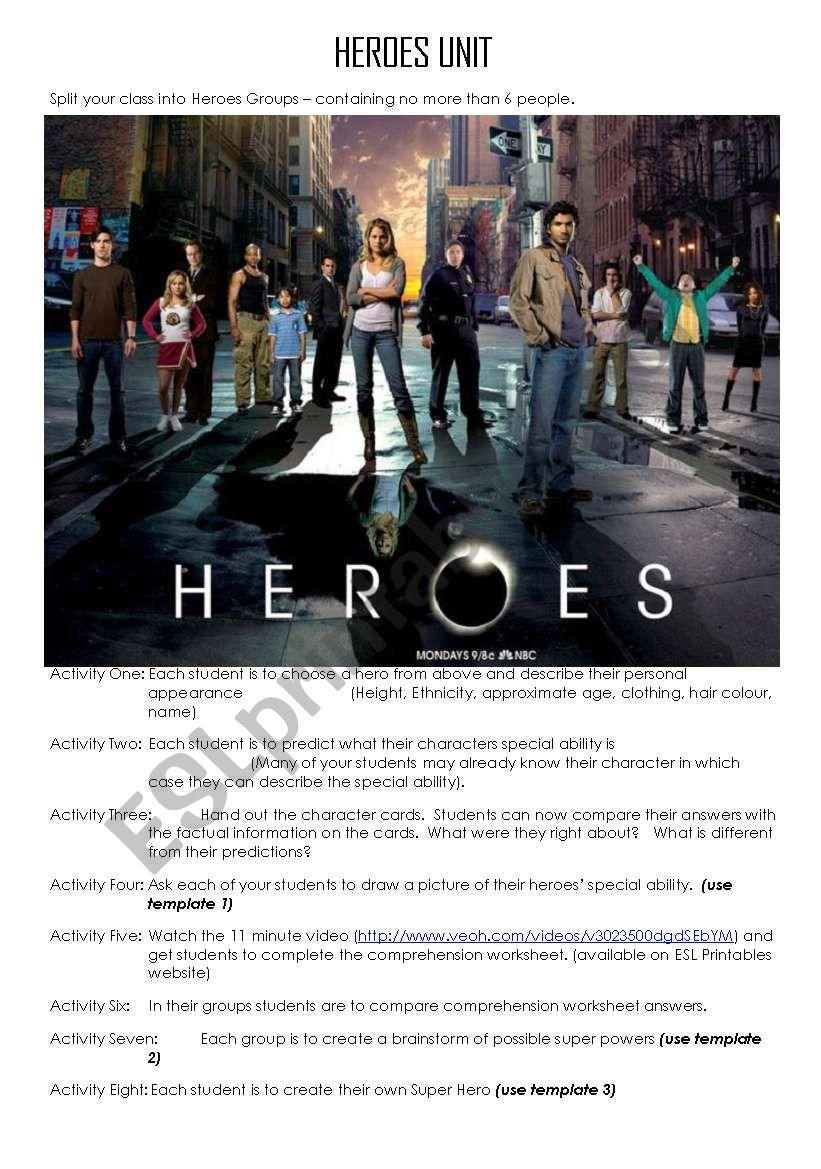HEROES UNIT PLAN worksheet