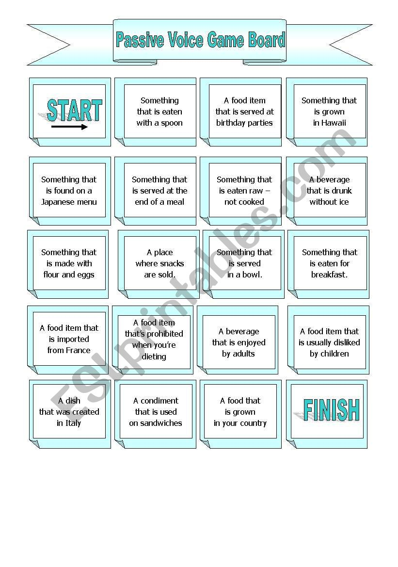 The Passive Voice Gameboard worksheet