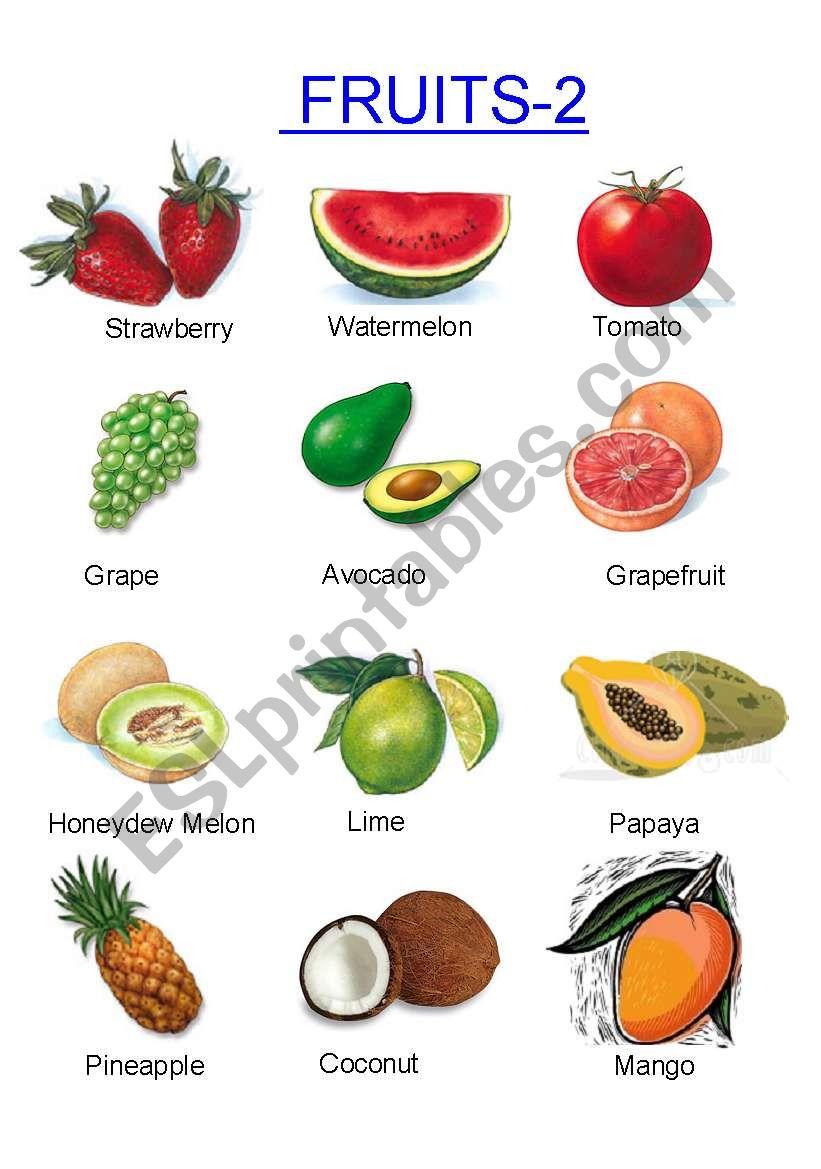Fruits -2 worksheet