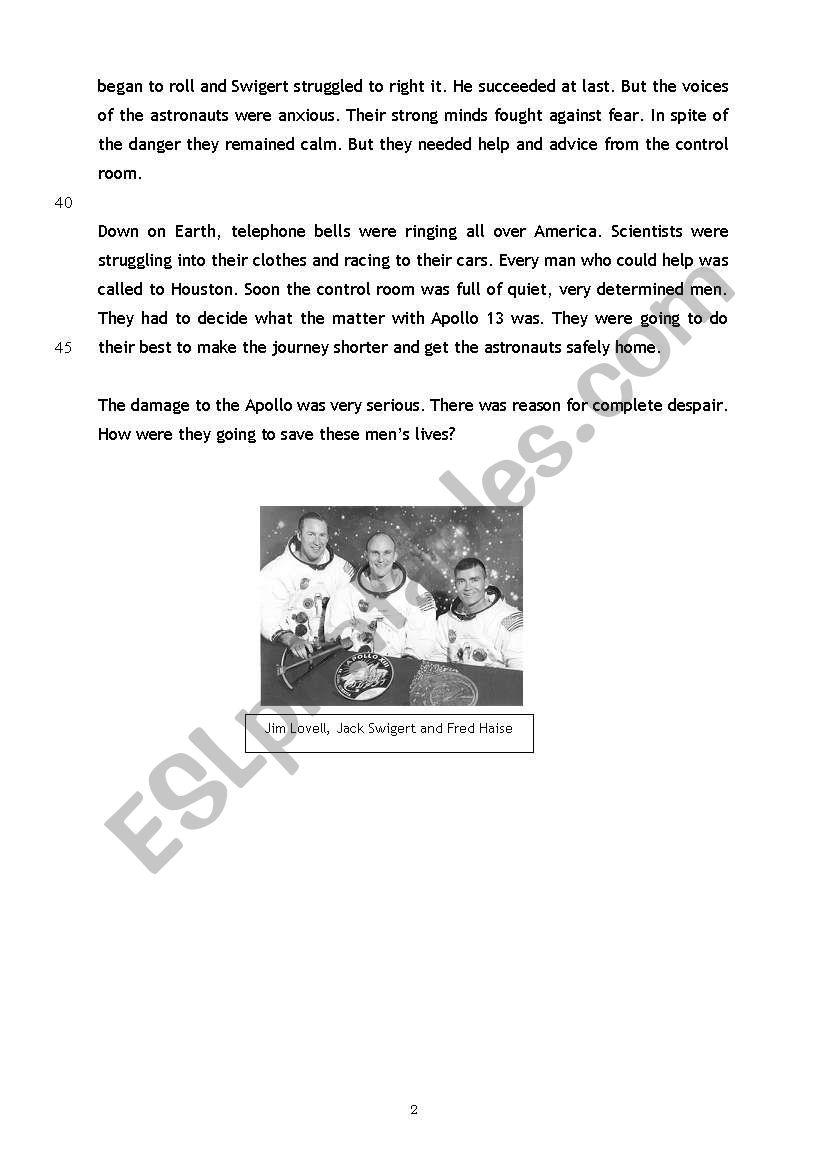worksheet Apollo 13 Worksheet Answers english worksheets reading comprehension apollo 13