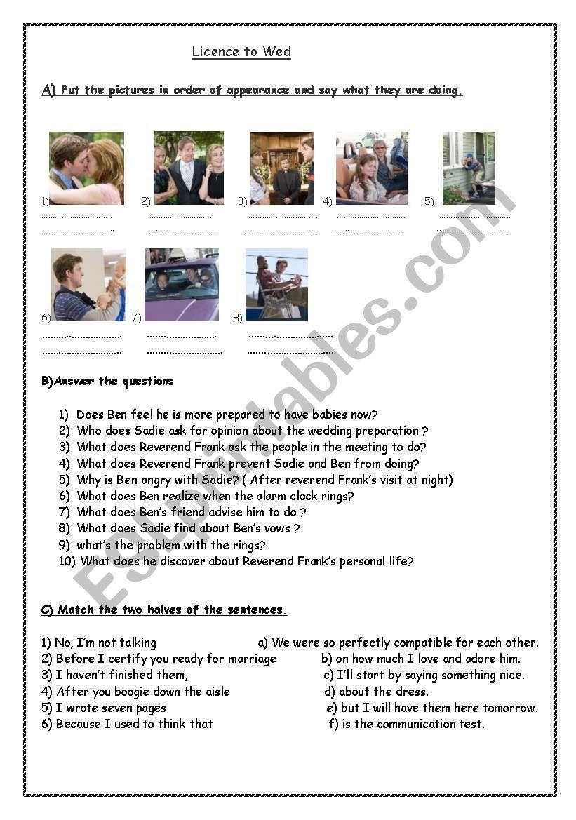 Licence to Wed worksheet