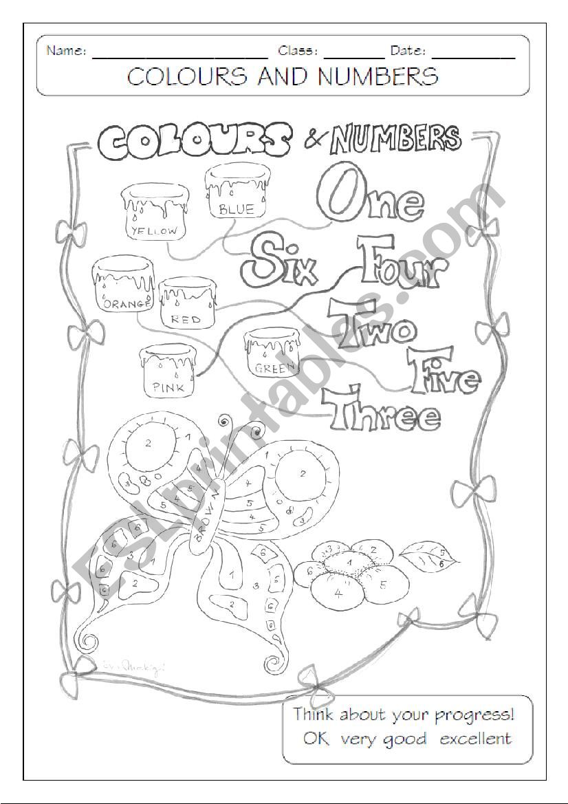 colours and numbers - b&w  worksheet