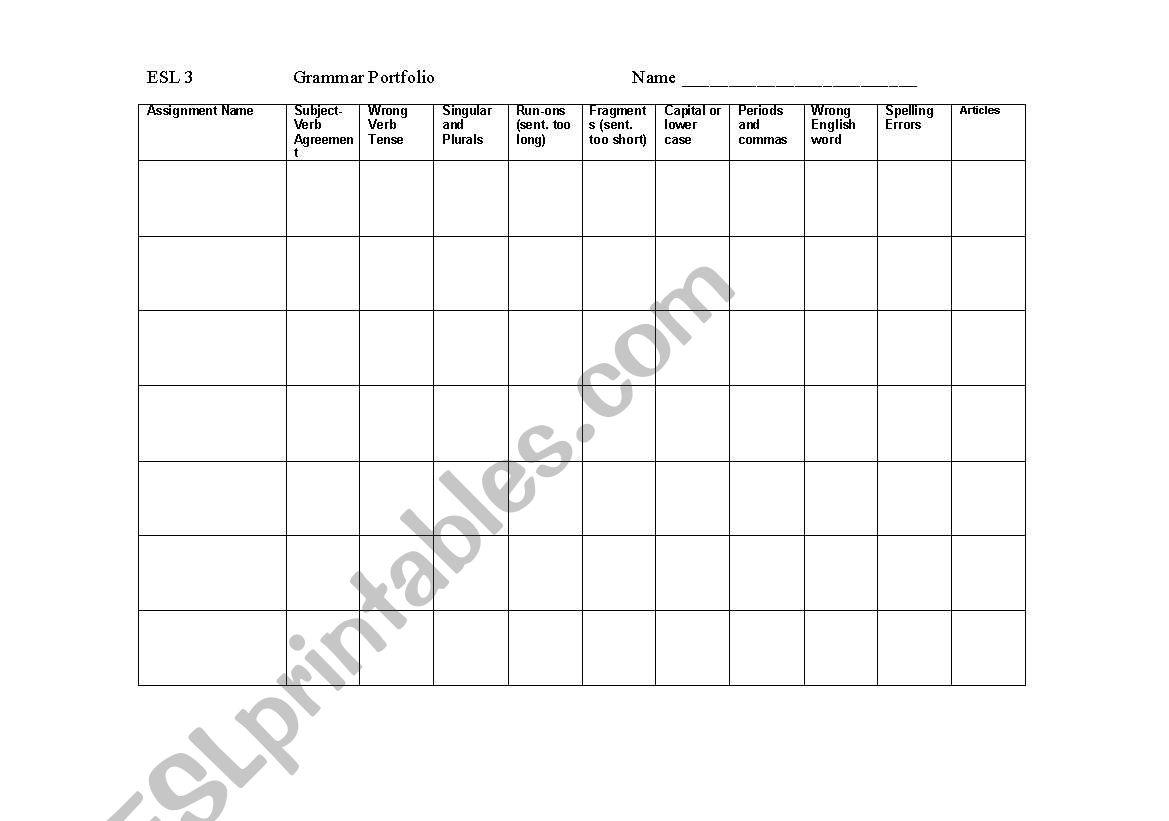 ESL Grammar Portfolio Chart worksheet