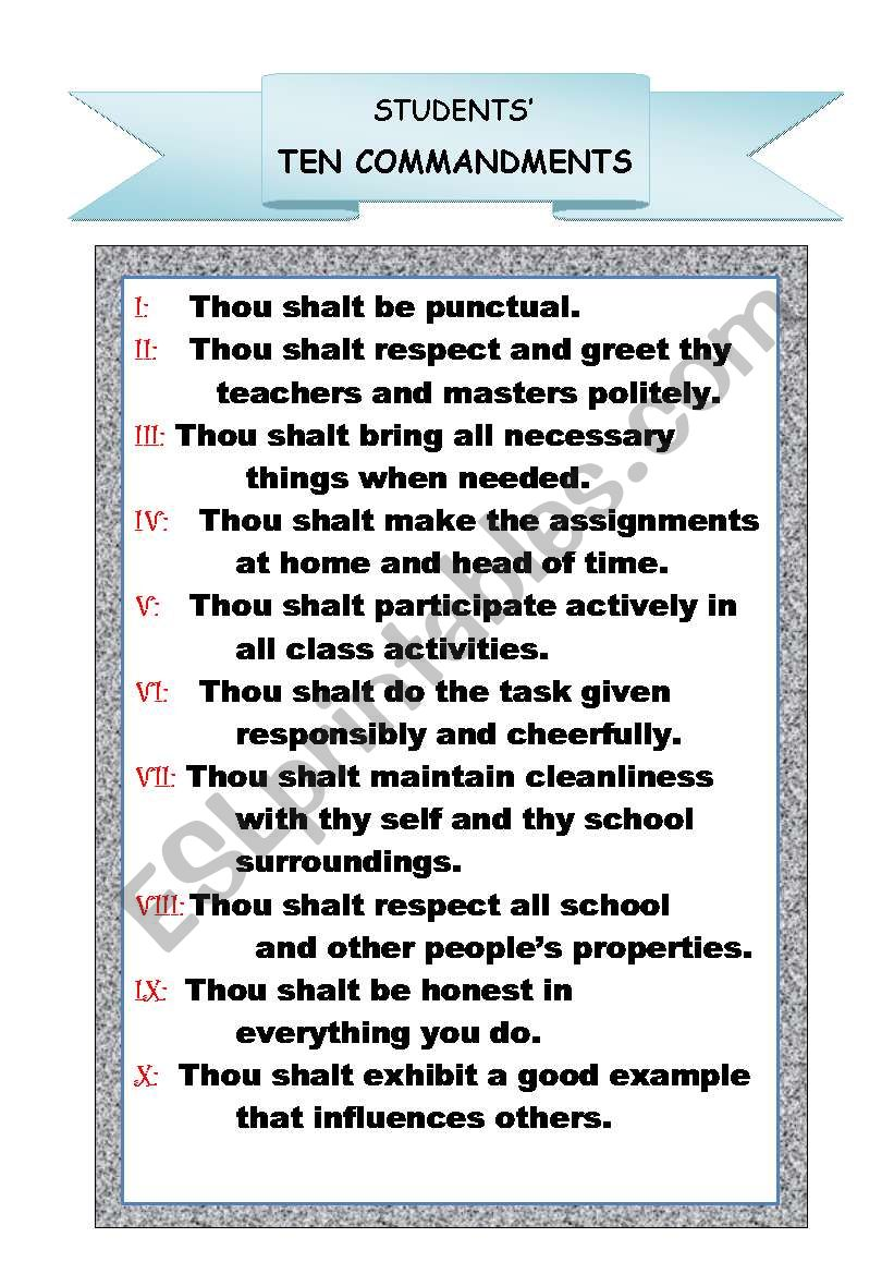 Worksheets Ten Commandments Worksheets ten commandments esl worksheet by oemlyz worksheet